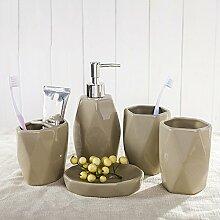ZLYAYA Europäische kreative kurze Khaki-farbige Keramik Badezimmer fünf Stück Badezimmer, waschen, legen