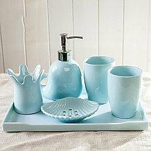 ZLYAYA Europäische kreative minimalistische Cartoon blaue Keramik Badezimmer fünf Stück Badezimmer Set mit Tablett zu waschen