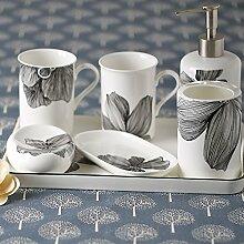 ZLYAYA Europäischen Stil Bad Toilettenartikel fünf Badezimmer Suite WC-Bürste spülen dental Keramik Tassenabstellfläche Ki