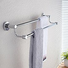ZLYAYA--handtuchhalter,304 Edelstahl punch Double Bar 50 cm, einfache und stilvolle Dicke dicke Mauer Küche, Bad Regale metallaufhänger Montagehalterung montierthandtuchstangen,handtuchständer
