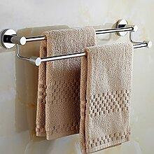 ZLYAYA--handtuchhalter,304 Edelstahl punch Double Bar 80 cm, einfache und stilvolle Dicke dicke Mauer Küche, Bad Regale metallaufhänger Montagehalterung montierthandtuchstangen,handtuchständer