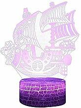 ZLYCZW Piratenschiff Lampe 3D LED Nachtlicht mit