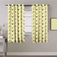 ZLYYH gardinen mit kräuselband Gelb Karikatur