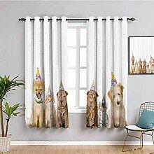 ZLYYH gardinen wohnzimmer Weiß einfach Tier Hund