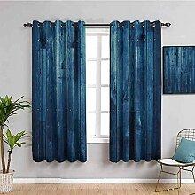 ZLYYH ösen gardinen Blaue einfache Retro
