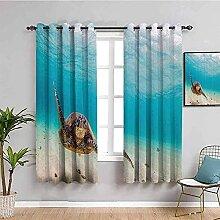 ZLYYH vorhang mit ösen Blau Meer Schildkröte