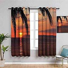 ZLYYH vorhang schlafzimmer Rot Palmen