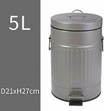 ZLZ-Mülleimer Trash Haushalt Toilette Wohnzimmer Küche Trash Creative Fußpedal Mülleimer Mülleimer 5L (Farbe : B)