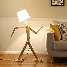 ZMH LED Bogenleuchte Stehleuchte Bogenlampe Moderne Bogenstandeleuchte Holz 110CM einstellbar Roboter-Design Leselampe Standleuchte für Schlafzimmer Wohnzimmer