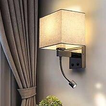 ZMH LED Wandlampe Leselampe Stoffschirm