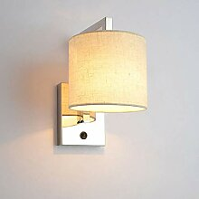 ZMH LED Wandleuchte weiß Stoff-Wandlampe mit