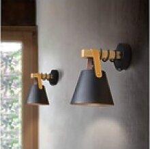 ZMH Wandleuchte Schwarz Vintage Wandlampe Holz E27