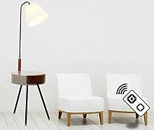 ZMLG Stehlampe LED Dimmbar, Modernes Gummibaumholz