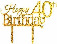 ZMTC Birthday Cake Topper Dekoration 40 Gold