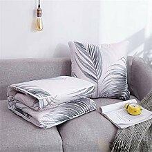 2 in 1 BaumwolleKissen Leinen Deckenkissen Sofa Elch Desig Verwandlungskissen /& Decke 150x110cm Blau Besucherdecke Auto-Decke Kissen 40x40 cm Set