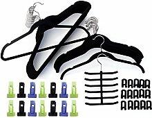 ZNL 80- teiliges Set rutschfeste magic Kleiderbügel,platzsparende,mit Samt überzogen, Schwarz(25 x Bügel mit Steg,25 x Bügel ohne Steg,15 x Haken (Kaskade),14 x Klips,1 x Tuch & Krawatten Halter) KZR01