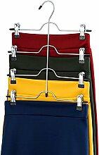 Zober platzsparend 4Etagen Hosen-Rock Kleiderbügel (Set von 3) stabile Luxuriöse chrom mit rutschfester schwarz Vinyl Clips, Multi Hose Aufhänger für Röcke, Hose, Hosen, Jeans, und mehr.