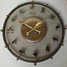 Zodiac Wanduhr aus Messing von Mauthe, 1950er