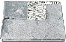 """ZOLLNER® Reisedecke / Kuscheldecke / Wolldecke / Wohndecke / Plaid / Decke mit Fransen 130x170 cm hellblau, in weiteren Farben erhältlich, vom Hotelwäschespezialisten, Serie """"Nigh"""