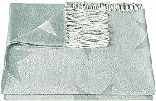 Zollner Reisedecke/Kuscheldecke/Wolldecke/Wohndecke/Plaid/Decke mit Fransen 130x170 cm hellblau, in weiteren Farben erhältlich, vom Hotelwäschespezialisten, Serie Nigh