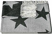 """ZOLLNER® Reisedecke / Kuscheldecke / Wolldecke / Wohndecke / Plaid / Decke mit Fransen 130x170 cm schwarz, in weiteren Farben erhältlich, vom Hotelwäschespezialisten, Serie """"Nigh"""