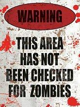 Zombie Warning retro Blechschild