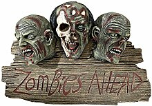 Zombies Willkommen Plaque Ahead - Welcome Sign - Zombie-Wand-Skulptur - Halloween-Dekoration
