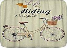 ZOMOY Badematte,Boho Pop Art Antikes Fahrrad mit