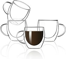 Zoneyila Kaffeetassen aus Glas, doppelwandig,