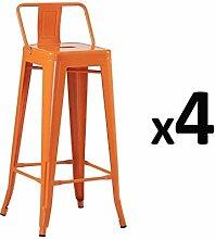 Zons Barhocker, Industrie-Design, Orange, 4 Stück