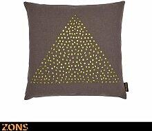 Zons Kissen mit Nieten, Design Triangle Gold 45x