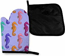 Zoo Seahorse Farbe Mikrowelle Ofenhandschuhe und
