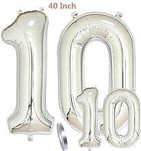 zooting Luftballons Zahl 10 Geburtstag XXL Silber