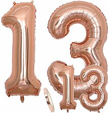 zooting Luftballons Zahl 13 Geburtstag XXL Rose