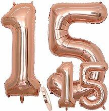 zooting Luftballons Zahl 15 Geburtstag XXL Rose