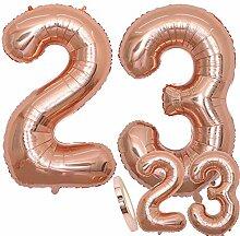 zooting Luftballons Zahl 23 Geburtstag XXL Rose