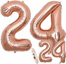 zooting Luftballons Zahl 24 Geburtstag XXL Rose