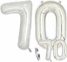zooting Luftballons Zahl 70 Geburtstag XXL Silber
