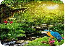 ZORMIEY Badematte Papageienwald Pflanze Baum Vogel