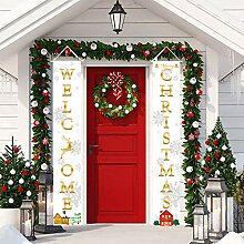 ZOYLINK 1 Pair Christmas Porch Sign Decorative