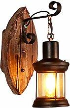 Zozmy Vintage Loft Wandleuchte Holz Glas