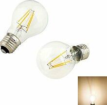 ZQ 2 Stück Light E26/E27 4W 4/PCS COB 320 lm Warmes Weiß B Vintage LED Glühlampen AC 220-240 V