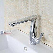 ZQ 360Grad drehbar Messing verchromt Waschbecken Wasserhahn–Silber