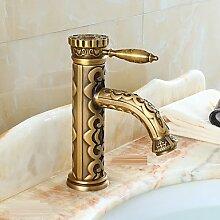 ZQ Badezimmer Waschbecken Wasserhahn mit Messing Antik-Finish-Bambus-Form-Design