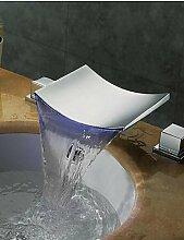 ZQ Badezimmer Wasserfall Waschbecken Wasserhahn Armatur Chrom LED Modisches Design Deck montiert Dual Griffe Drei Farbe geänder