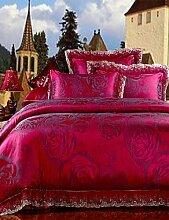 ZQ der neue Bettwäsche-Set Rose Rot Blumenmuster Bettbezug seidig glatten Bettwäsche Hot Heimtextilien 4Queen King Size King Size