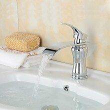 ZQ Fashion chrom Wasserfall Messing Waschbecken Wasserhahn–Silber