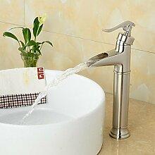 ZQ Hoher Qualität poliert Nickel hohen Wasserfall Bad Waschbecken Armatur gebürstet Silber