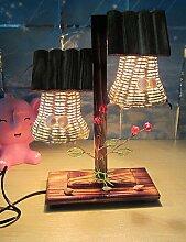 ZQ Holz Dual-Desktop-Licht Kerze Deko Schlafzimmer