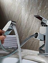 ZQ Hot und Cold Smoked Pull Waschbecken Wasserhahn